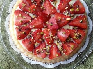 Génoise au fraise et pistache