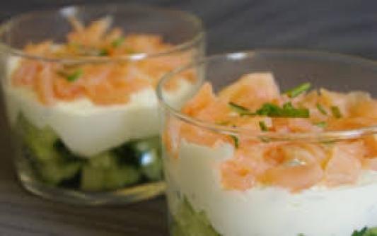 Verrines concombre/saumon