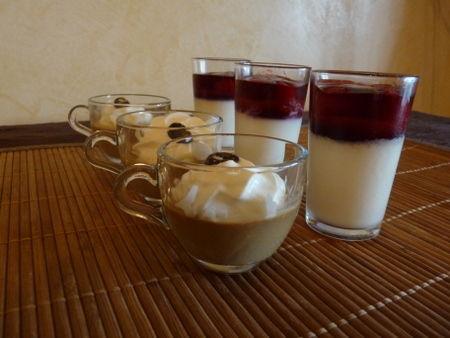 Panna cotta framboise et café