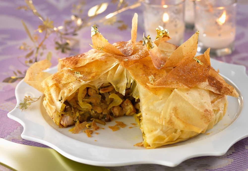 Pastilla de Noël au foie gras à la dinde et aux fruits secs