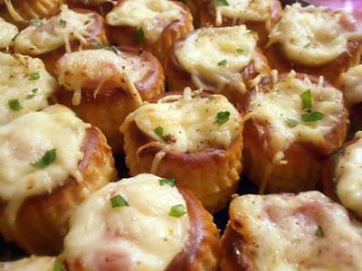 Minis bouchées chaudes au jambon