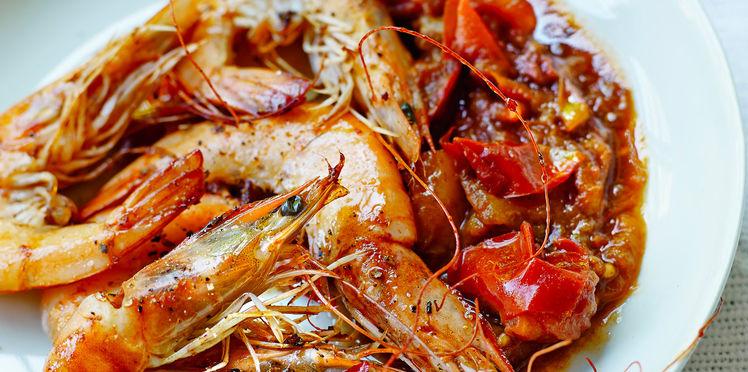Crevettes sauce piquante à la tomate
