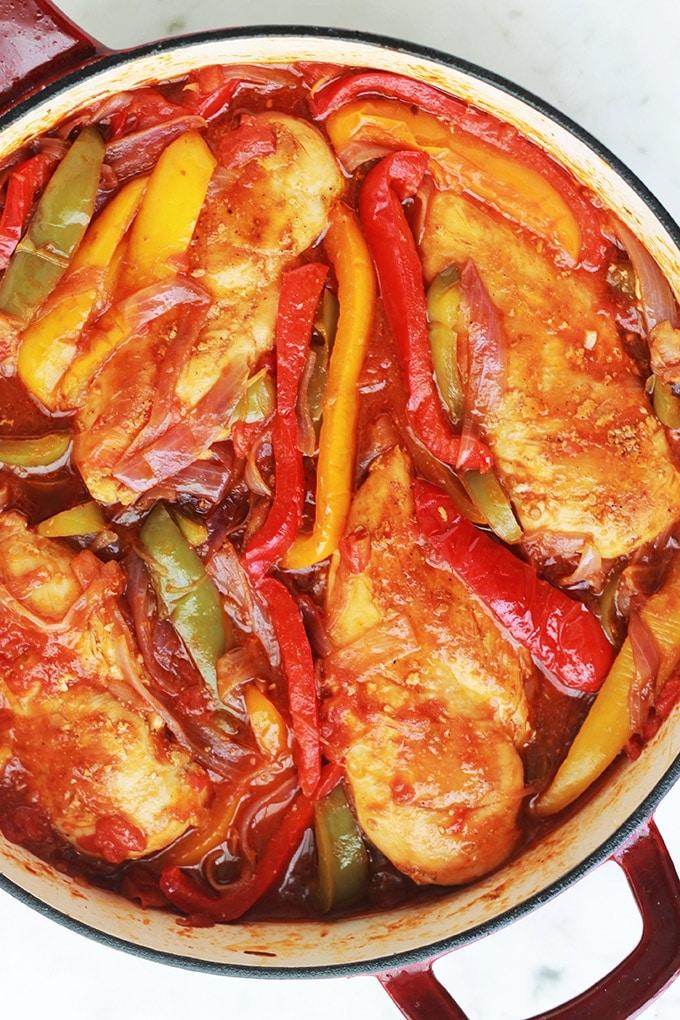 Poulet Aux Poivrons Oignons Et Tomates Recettes Italiennes